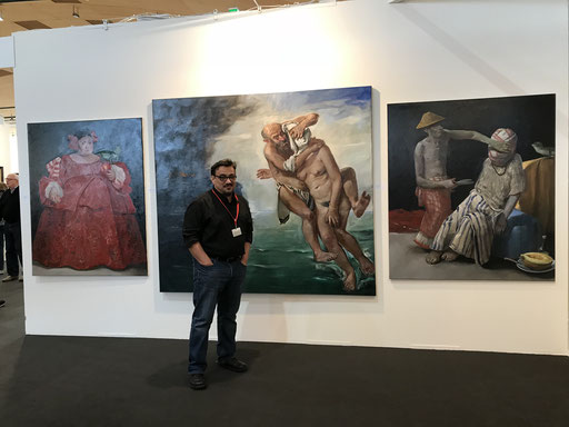 Art Karlsruhe 2018, Stand  H3/F 14 der Galerie KK, Pavel Feinstein vor seinen Bildern