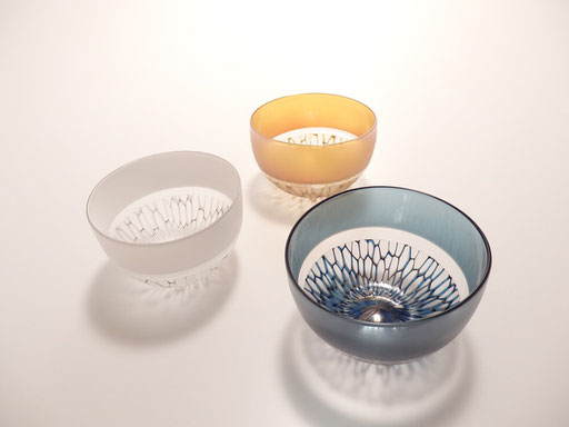 silvery glass line decoration sake cup