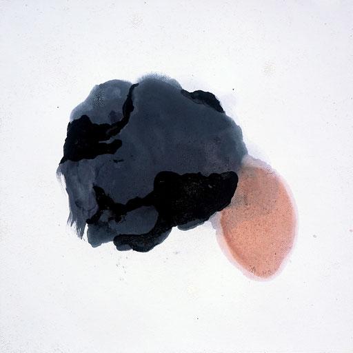 Malerei auf Monotypiedruck, 34,5 x 34,5 cm,  Klavierlack, Schellack, 2018