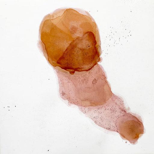 Malerei auf Monotypiedruck, 34,5 x 34,5 cm, Pigment, Schellack, 2018