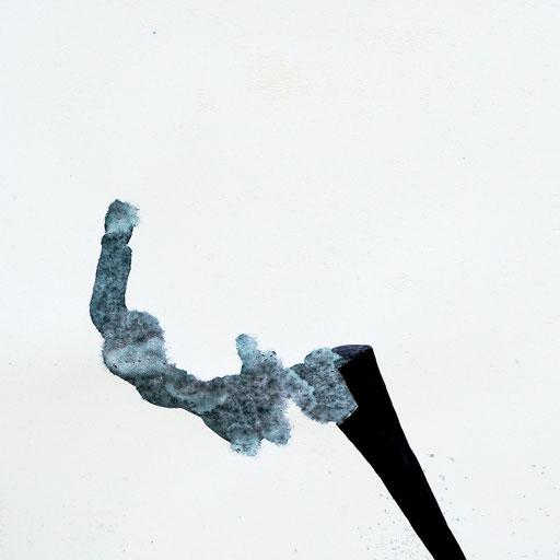 Malerei auf Monotypiedruck, 34,5 x 34,5 cm,  Klavierlack, Tusche, 2018