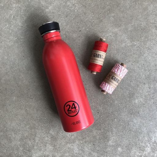 Flasche 24bottles 19,90 | Garn&Mehr rot Leinen 6,90 Euro | Garn&Mehr Baumwolle 5,90 Euro