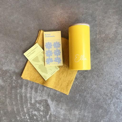Leinenserviette proflax 9,90€ | Samenpäckchen piccolo Seeds 3,30 € | Spardose personalisiert werkvoll 26,90€