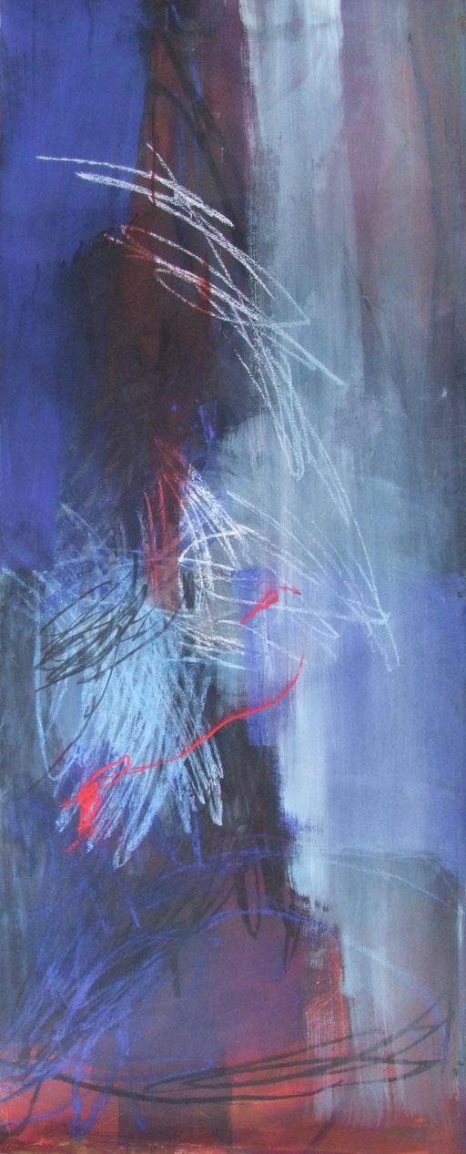 Eitempera, Kohle, Pastel auf Papier, 60X150, 2013