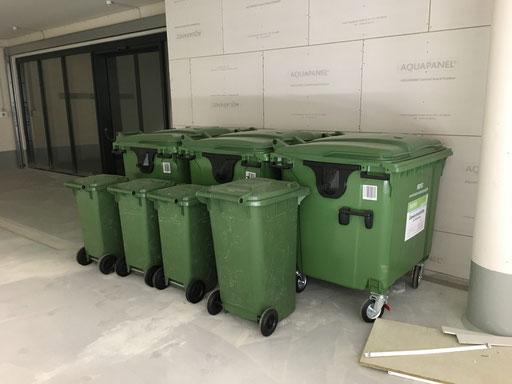 Bestellung von Mülltonnen für eine neu übernommenes Einkaufszentrum.