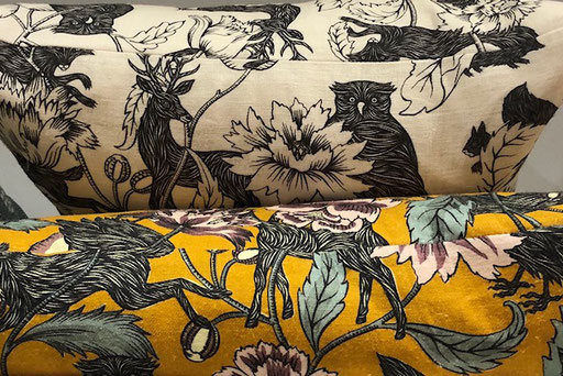 Yellow and Black Crespecule Juane Fabric by Antionette Poisson