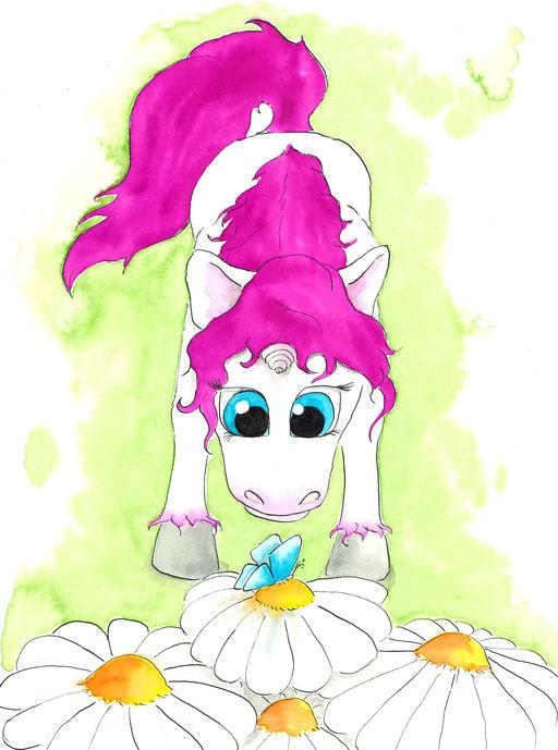 Einhorn mit Schmetterling #unicorn #butterfly #flower