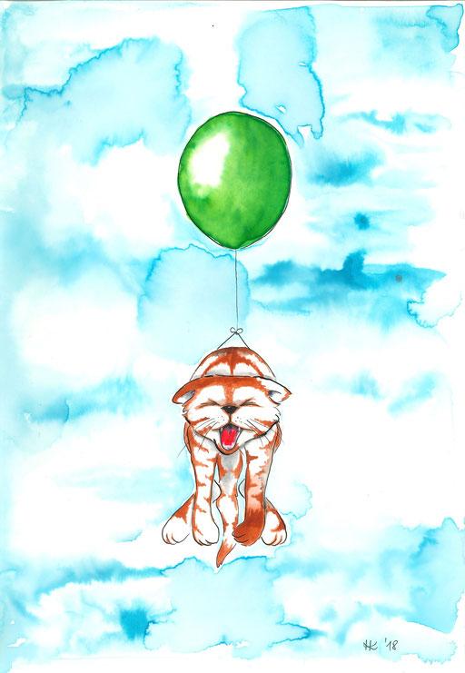 Fliegende Katze #kater #ballon #balloon