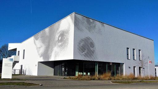 Umsetzung Rasterbild auf Fassade. Motiv dog, 7.000 x 1.800 cm. Design: Felix Weinhold und Ott Architekten