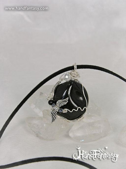 Colgante Hematite, Piedra negra, Colgantes de Ónix, collar de piedra negra, Colgantes de Ónix, piedra de Ónix, Collar de Ónix