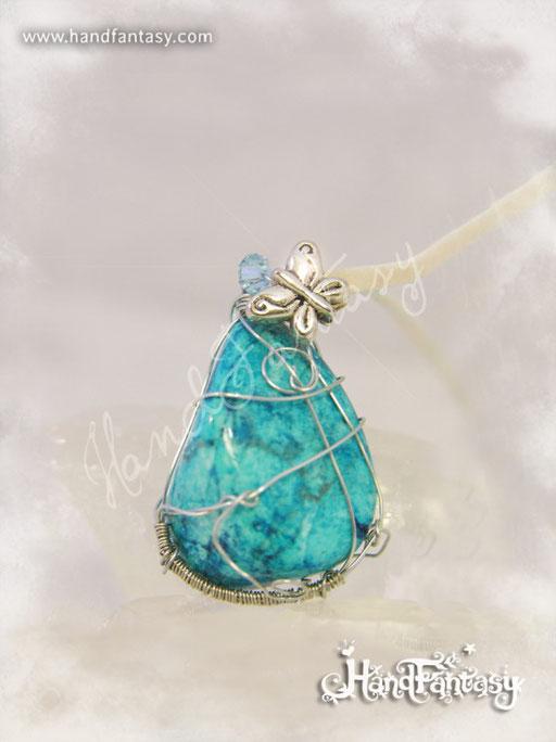 Colgante Howlita azul, Piedra preciosa azul, Colgantes de cuarzo, Collar Howlita