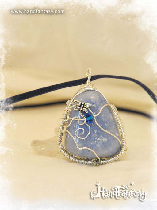 Colgante Ágata azul, Piedra azul, Colgantes de cuarzo, piedra de Ágata azul, Collar ágata azul