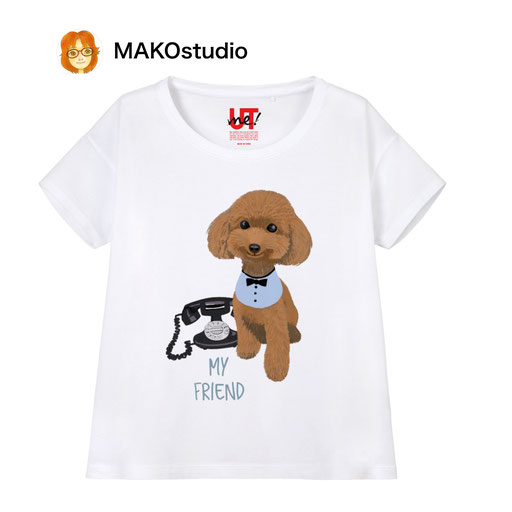 ユニクロUTme Tシャツ/サイズ、色が選べます。トイプードル黒電話
