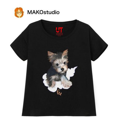 ヨークシャーテリア風になる!/ユニクロUTme Tシャツ/サイズ、色が選べます。