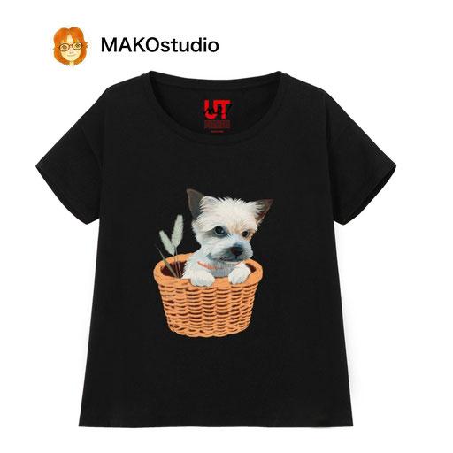 ヨークシャーテリア俺様の籠/ユニクロUTme Tシャツ/サイズ、色が選べます。