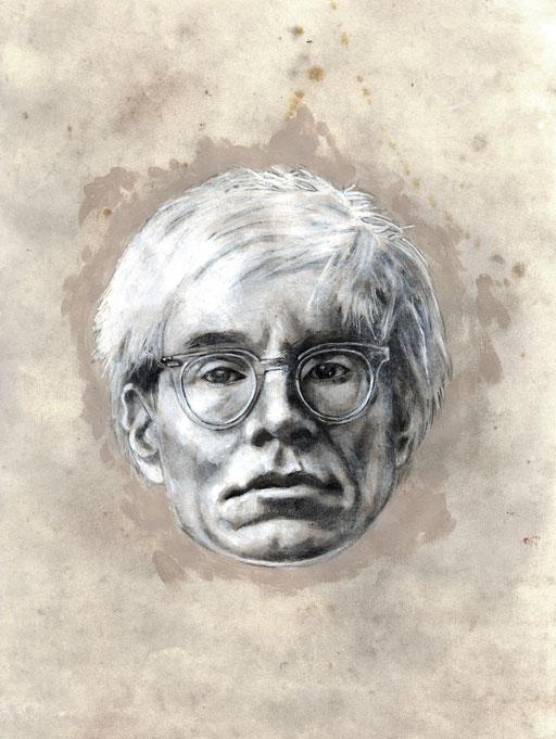 ANDREW WARHOLA - graphite, gesso, acrylique, pastel et pigment sur papier - 27 x 40 cm
