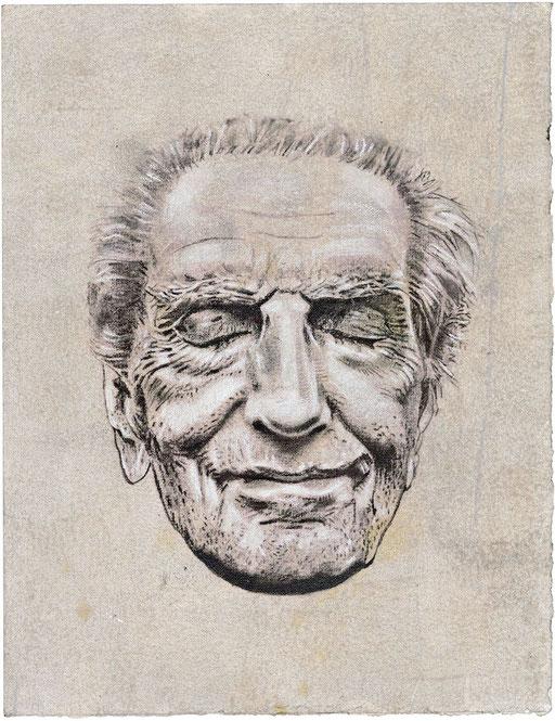 HARRY DEAN S- graphite, gesso, acrylique, pastel et pigment sur papier - 27 x 40 cm