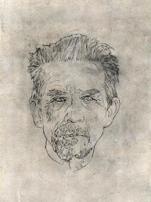 JOHN HURT - graphite, gesso, acrylique, pastel et pigment sur papier - 27 x 40 cm