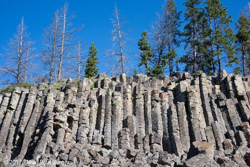 Yellowstone - Obsidian Cliff - Orgues dans une coulée volcanique refroidie sans cristalliser de 30m d'épaisseur. L'obsidienne est un verre.