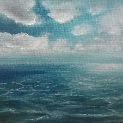Rømø, Dänemark_Nordsee, 02, Öl auf Nessel, 15 x 15 cm