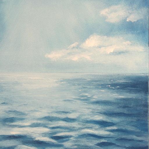 Kroatien_Mittelmeer02_Öl auf MDF, 15 x 15 cm