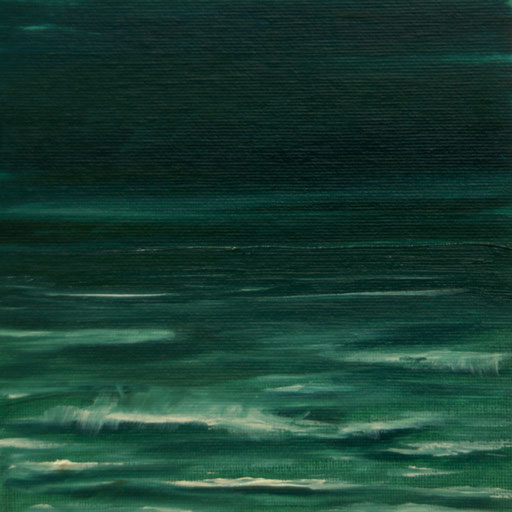 Lissabon, Portugal, Atlantik 2,Öl auf Nessel, 15 x 15 cm