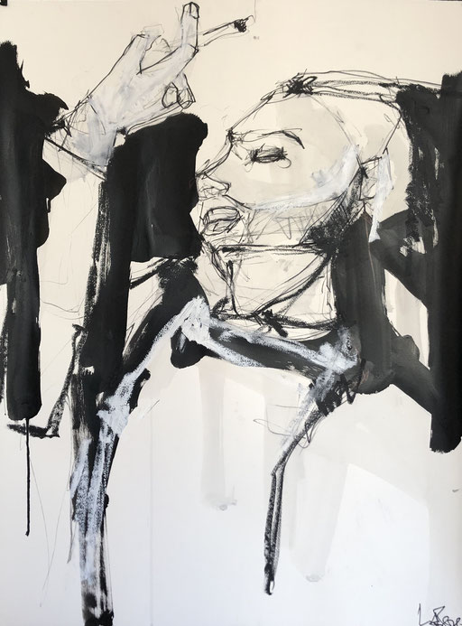 Das Katia, 76x65 cm, charcoal, black ink and oil stick