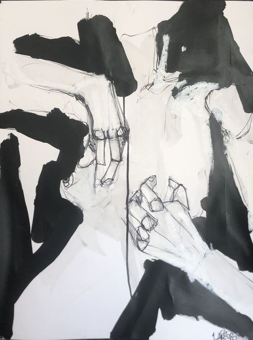 Caresse, 65x50 cm, charcoal, black ink and oil stick