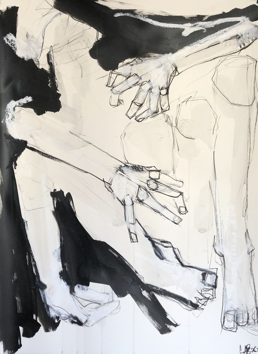 Confinement, 76x65 cm, charcoal, black ink and oil stick