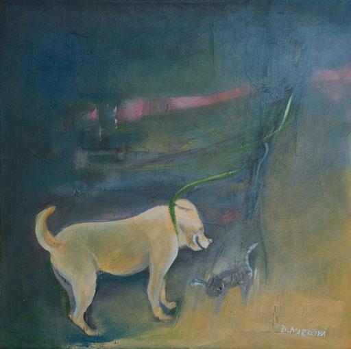 Ztratil se pes I * akryl na plátně * 40/40