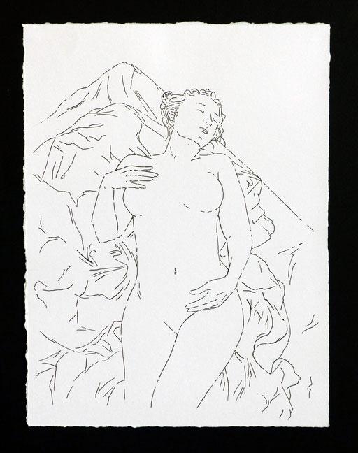 Nue sur drapé _  Encre de chine sur papier 28X21cm, 2016.