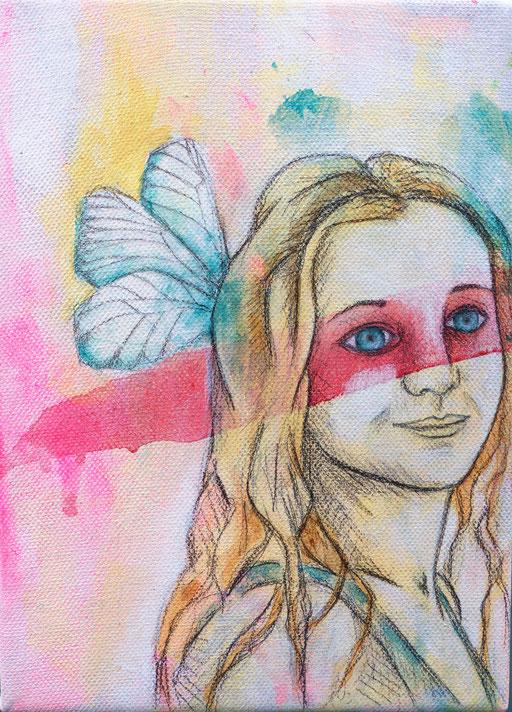 Angélique _ Acrylique et crayon de bois sur toile 22X16cm, 2015.