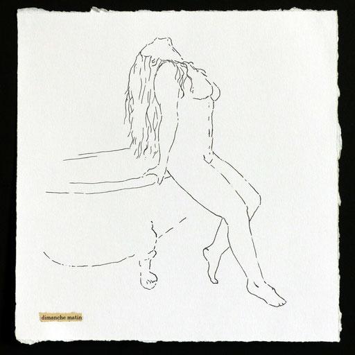 Dimanche matin _   Encre de chine et collage sur papier, 21X21cm, 2016.