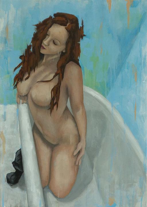 Femme, agenouillée dans la baignoire _ Acrylique sur toile 70X50cm, 2016.