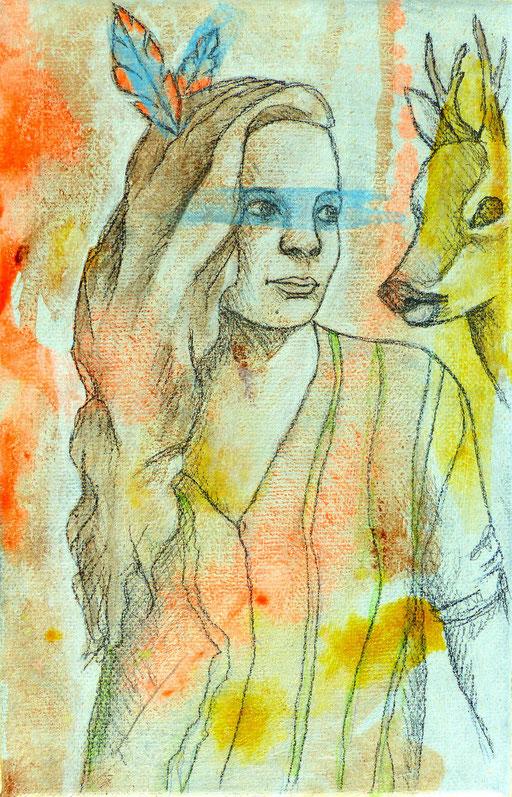 Anne _ Acrylique et crayon de bois sur toile 22X14cm, 2015.