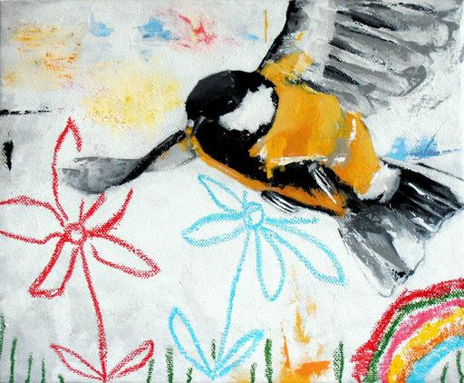 Mésange Buissonnière _ Acrylique et pastels à l'huile sur toile 27X22cm, 2014.