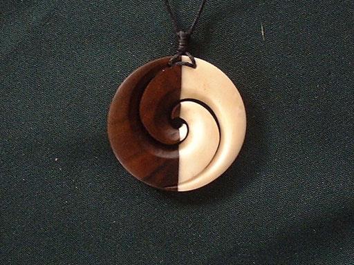 #33 Wood(Rose Wood) and Bone Koru/sold