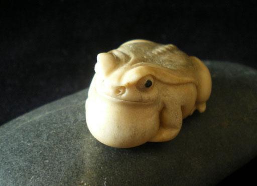 Bull Frog Netsuke / Sold