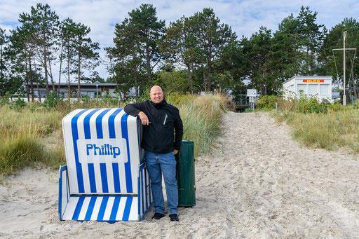 Unser Busfahrer Phillip und sein Strandkorb