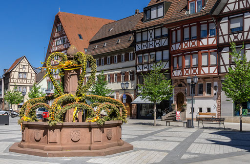 Brunnen am Marktplatz, Tauberbischofsheim, TBB