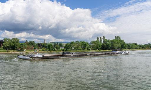 Mit Drahtrollen schwerbeladen fährt die MS Sachsenhagen den Rhein hinab