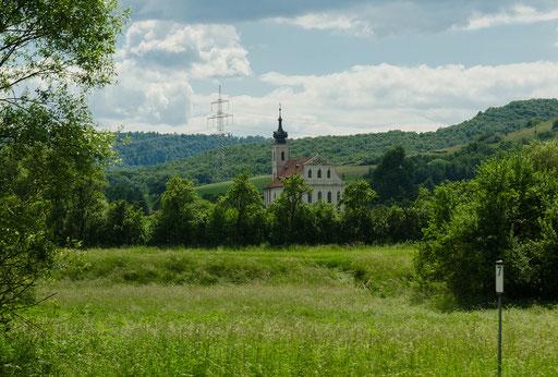 Wallfahrtskirche Maria Limbach. Die spätbarocke Kirche wurde nach Entwürfen des Baumeisters Johann Balthasar Neumann 1751 errichtet.