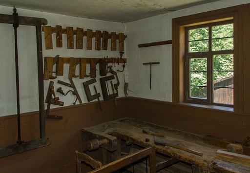 Schreinerwerkstatt, Bild aus dem Rhöner Museumsdorf Tann