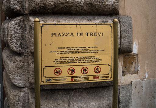 Verhaltensregeln im Bereich des Piazza de Trevi