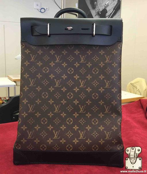 Steamer bag Louis Vuitton noir cuir et toile LV