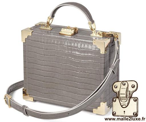 sac a main petite malle pas cher imitation crocodile cuir MINI TRUNK CLUTCH - ASPINAL OF LONDON