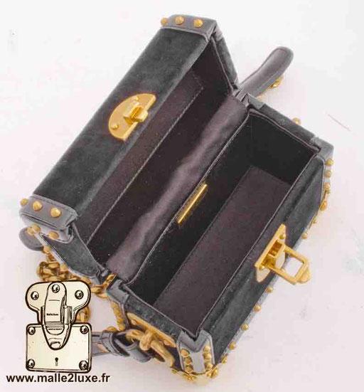 CAHIER MINI PATENT BOX BAG - PRADA trunk black