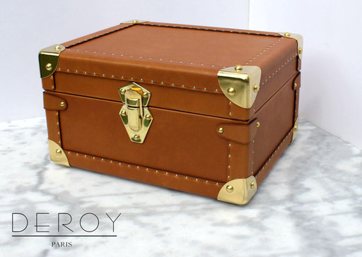 Box case luxury home made leather brass