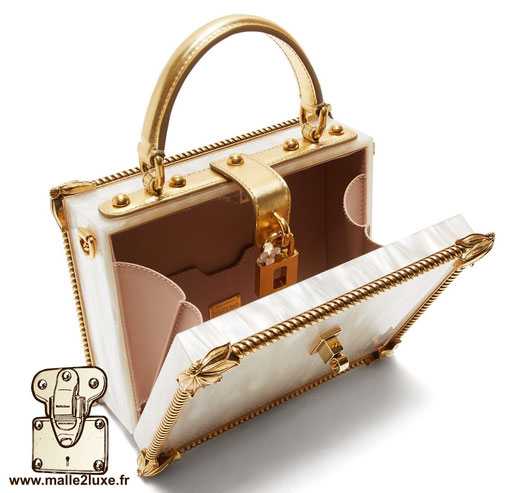 BOX BAG - DOLCE & GABBANA sac a main rigide mini malle luxe