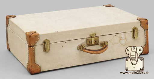Hermes paris suitcase white leather Kelly canvas